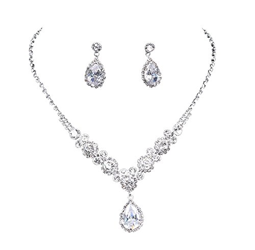 UDORA Rhinestones Necklace Earrings Jewelry Sets for Bridal Wedding Party (T1219) ()