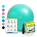 Exercise Ball - Professional Grade Anti-Burst Fitness, Balance Ball for Pilates, Yoga, Birthing, Stability Gym Workout Training and Physical Therapy (Aqua, 55 cm)