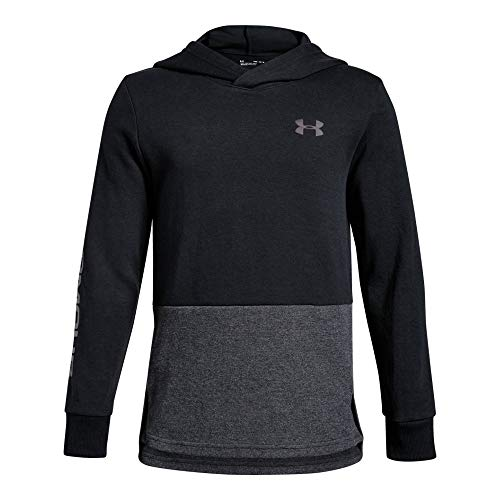 Under Armour Boys Double Knit Hoodie, Black (001)/Fresh Clay, Youth - Sweatshirt Boys Armour Under