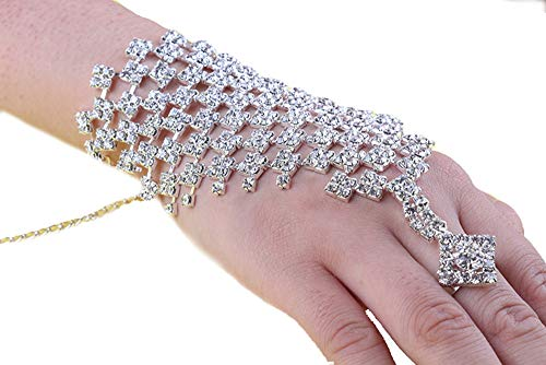 Emsems Bracelet Ring Accessories, Adjustable Pearls Bracelet Ring Set Bracelet For Women Vintage Flapper Costume For Party Great Gatsby -