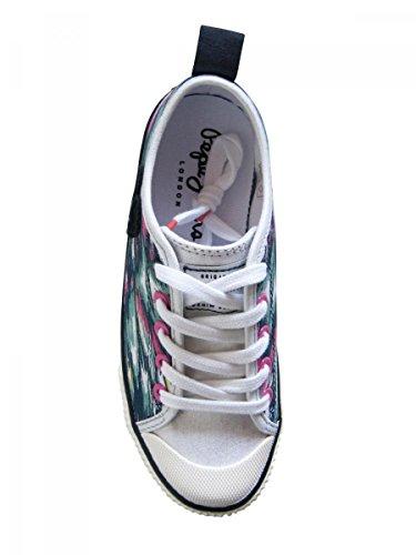 Pepe Jeans Sneaker zu Schnürsenkel in Leinwand Bedruckt Rosa ADO Mädchen Bedruckt