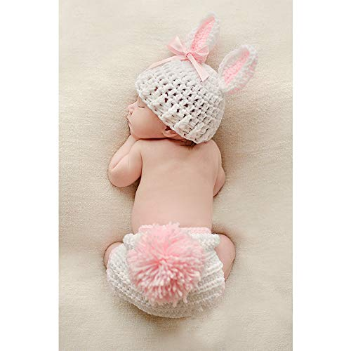 ISOCUTE Newborn Photography Props Baby Girl Easter Bunny Crochet Knitted Rabbit Set ()