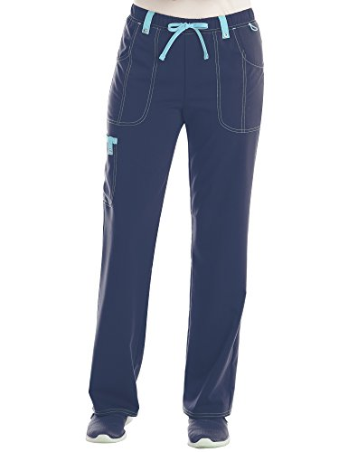 Women's Stretch Twill Color Accent Drawstring Cargo Scrub Pant