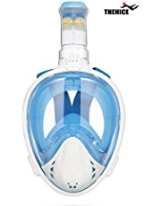 THENICE Full Face Snorkel Mask, Foldable Snorkeling Mask, Free Breathing Diving Mask with Wide Clear 180 Degree Panoramic Large View Detachable Camera Mount Anti-Fog Anti-Leak for Adult Kids