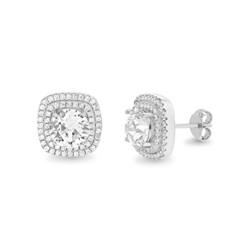 Devin Rose Round Square Double Halo Stud Earrings for Women Made With Swarovski Crystal in 925 Sterling Silver