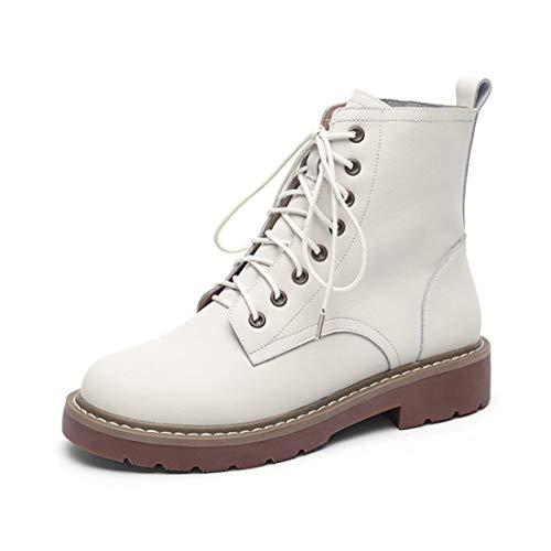 Sandalette-DEDE Otoño e Invierno Cabeza Redonda Botas de tacón bajo Martin versión Coreana de Zapatos de Mujer de Cuero bajo Botas Bajas de Gran tamaño Botas de Mujer Beige