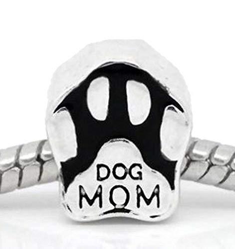 Dog Mom Paw Print Pet Black Animal Spacer Charm for European Slide Bracelets