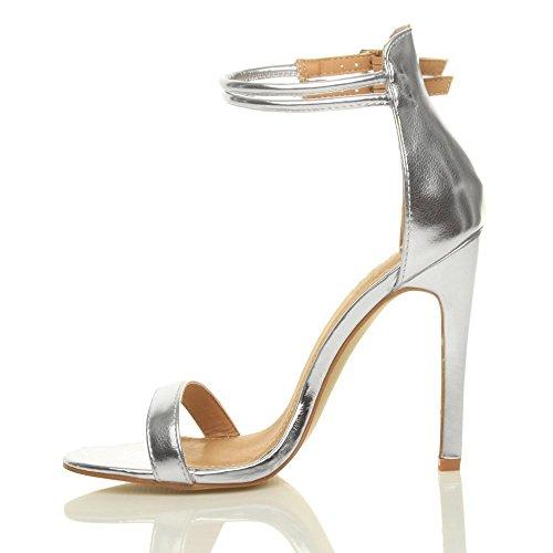 Ouvert Cheville Hauts Sandales Grande Argent Chaussures Talons Boucle Femme de Taille Bout Escarpins Emiki Bande x47n0HTww