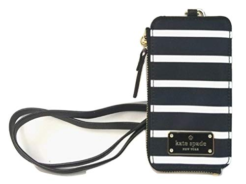 Kate Spade New York Edria Wilson Road Lanyard Wallet French Stripe Black and White