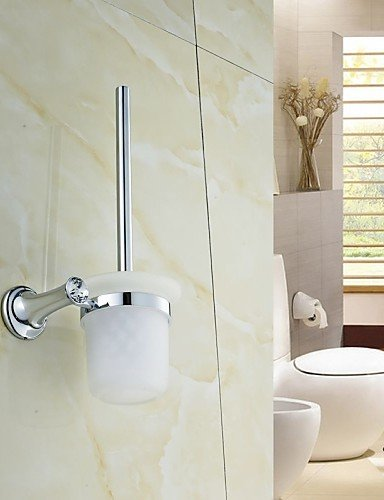 XY&XH Toilet Brush Holder ,Elegant Silver Crystal Brass Toilet Brush Holder