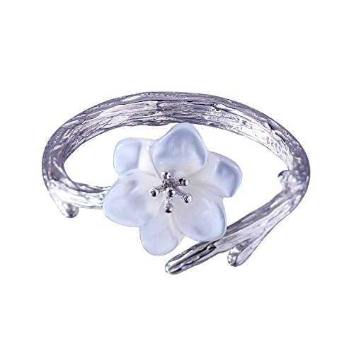 (Jewever 925 Sterling Silver Original Sakura Open Tail Ring Adjustable White Shell Carving Flower for Women Jewelry Gift)