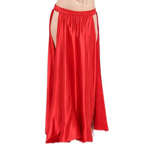 - Dance Fairy Belly Dance Satin Long Opening Skirt(no Belt),Red