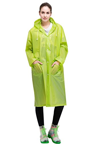 - Aircee Lightweight Easy Carry Poncho Wind Hooded Jacket Raincoat (Green)