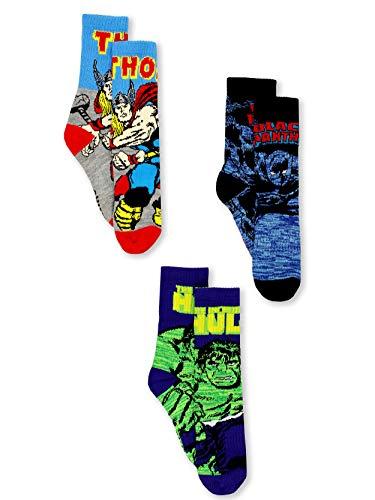 Marvel Avengers Black Panther Hulk Thor Boy's 3 pack Crew Socks Set (6-8 Boys (Shoe: 10-4), Black/Blue)