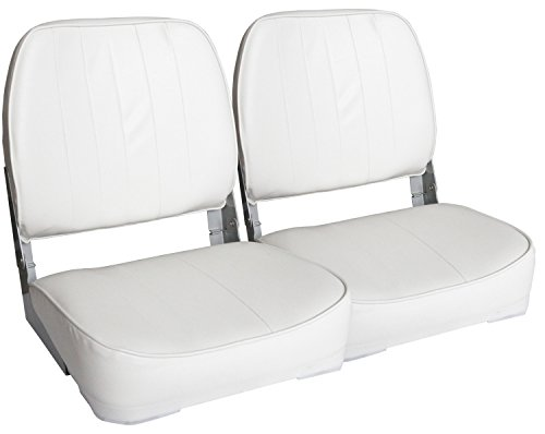 Leader Accessories A Pair of New Low Back Folding Boat Seats(2 Seats) (White)
