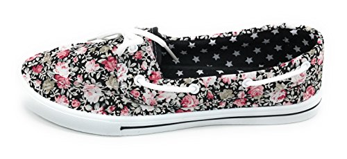 Comfy Sneaker EASY21 Lace Berry Shoe Round Toe Boat Canvas On Flat Slip Black Rose up Prt Blue Tennis 75zqxq