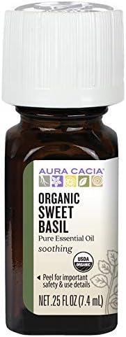 Aura Cacia Certified Organic Pure Basil Sweet Essential Oil 0 25 Fl Oz Ocimum Basilicum Beauty
