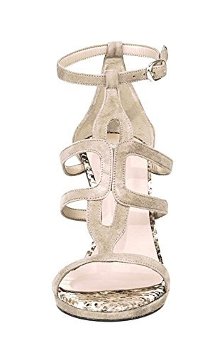 PATRIZIA DINI nude cuña sandalia de tacón alto x 9,5 cm