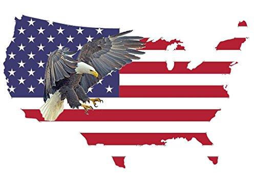 Vinyl Usa - American Eagle Sticker USA Flag Patriotic Stars and Stripes Car Window Auto Bumper Sticker Vinyl Decal (10x6