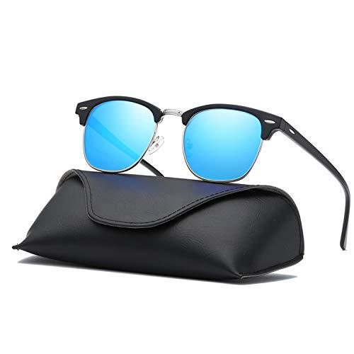 Ray Parker Classic Horn Rimmed Semi Rimless with Polarized Lenses for Men Sunglasses RP6623 with Black Frame/Blue Lenses
