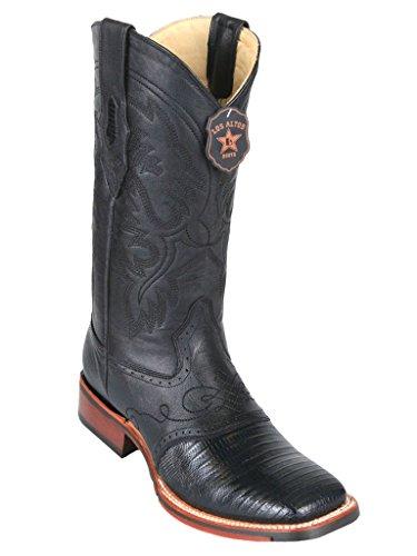 Genuine Lizard Skin Western Saddle Square Leather Wide Teju Men's Boots Toe Black w wF66Xq