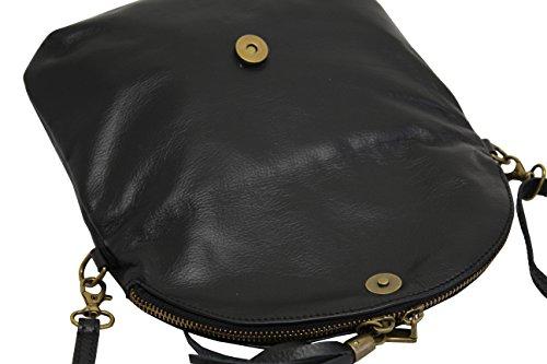 bolsas italiana Moda suave hombro cuero de de embrague AMBRA de pequeñas NL609 mujer Negro bandora bolso Rzq5wq