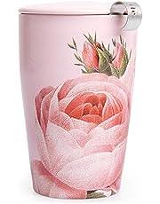 Tea Forté Kati Mug Jardin | Taza de té con infusor de acero inoxidable y tapa de la taza | Doble pared antiquemaduras | Cerámica de calidad | 350 ml | Edición limitada