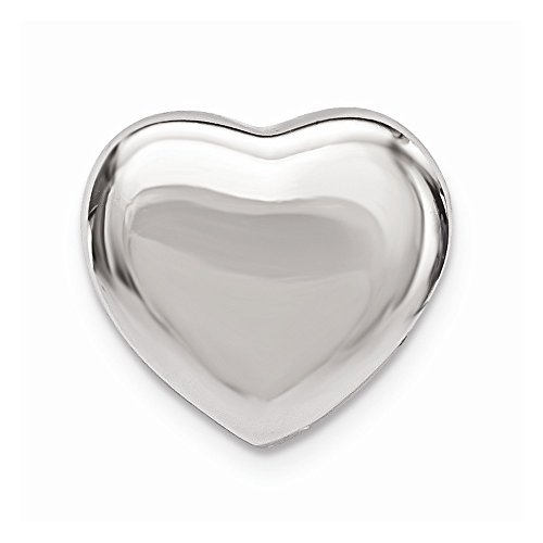 (Sterling Silver Rhodium Plated Heart Slide Charm)
