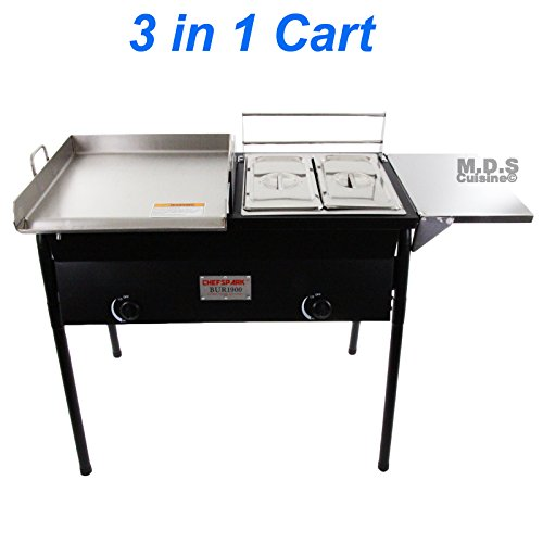 Taco Cart with Griddle 18x16 Stainless Steel, Double Deep Fryer, 2 Deep Trays & Stove All 3 in 1 by M.D.S Cuisine Cookwares