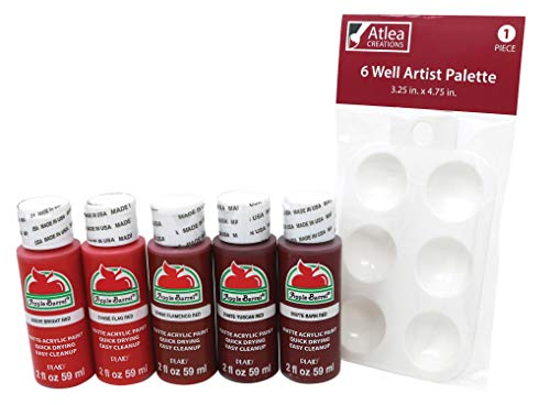 "Apple Barrel""Red"" Acrylic Paint Set & Complimentary Palette - Bright, Flag, Flamenco, Tuscan, Barn Red Colors (5 Bottles, 2 Ounces Each) -  681920027171, ACREA048"