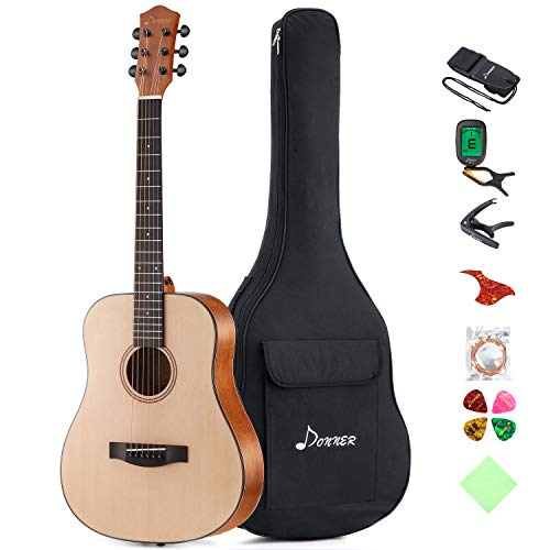 Donner 36'' Dreadnought Acoustic Guitar Package 3/4 Size Beginner Guitar Kit DAG-1M Spruce Body With Bag Capo Tuner Strap String Guitar Picks ()