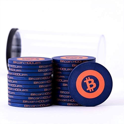 Bitcoin HODLem Poker Chips - Premium Quality Casino Grade Ceramic Poker Chips - 25 PC Set (Midnight Blue)