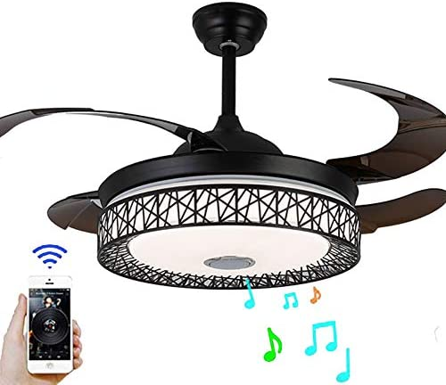 BDenise 42 Inch Invisible Ceiling Fan with Light and Remote Control, Creative Bluetooth Retractable Blades Chandelier Fans with 3 Lights Dimmable and 3 Speeds for Bedroom Dining Room Black-upgraded