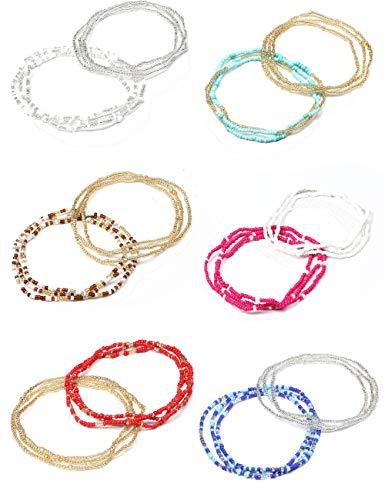 FIBO STEEL 12 Pcs Beads Waist Set for Women Girls African Beaded Body Chain Multti-Color Belly Chain Necklace Bracelet Anklet Bikini Summer Jewelry (D)