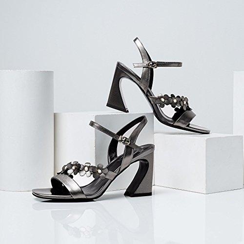 AJUNR Moda/elegante/Transpirable/Sandalias dedos de los pies rough Heels zapatos de mujer hebillas pistola de colores de 8 cm de tacon alto Treinta y cuatro 36