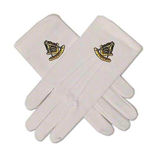 (Past Master White Hand Embroidered Gloves)