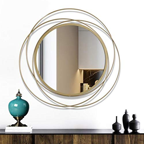 GLJJQMY Decorative Mirror Oversized Round Antique Gold Swirl Mirror for Living Room and Office Space Wall Mirror (Color : A)