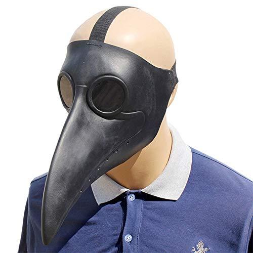 PartyCostume - Black Plague Doctor Mask - Long Nose Bird Beak Black -