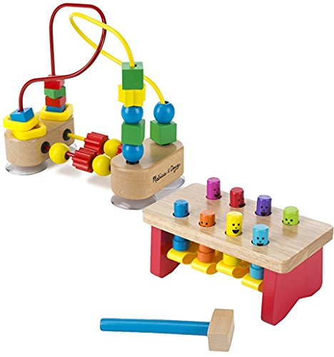 Bundle Includes 2 Items - Melissa & Doug Deluxe Pounding Bench Wooden Toy With Mallet and Melissa & Doug First Bead Maze - Wooden Educational Toy