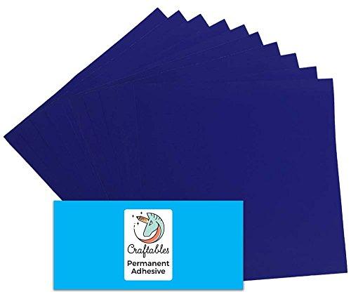 Craftables Navy Blue Vinyl Sheets - Permanent, Adhesive, Glossy & Waterproof | (10) 12
