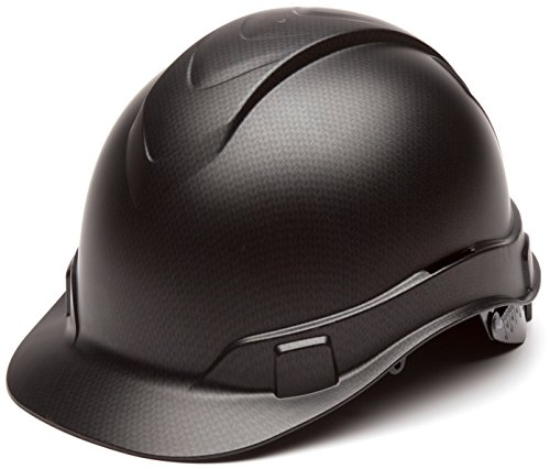 Pyramex Ridgeline Cap Style Hard Hat, 4-Point Ratchet Suspension, Black Graphite Pattern