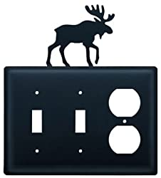 Village Wrought Iron Esso-19 Double Switch & Single Outlet Cover - Moose