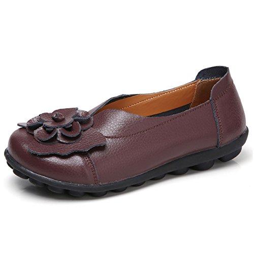 Chaussures Conduite Femmes Rond Marche Scieu Doux Café Cuir Slip Bout En Plates Mocassins ons Mocassins Unq4C7qw