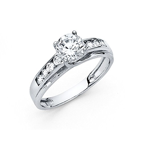 cubic zirconia wedding rings that look real wellingsale solid 14k white gold polished cz cubic 3221