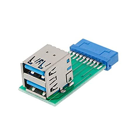 Computer Cables Internal 20Pin to 2 USB 3.0 A Female Adapter Converter PCB Board Card Extender Cable Length: no