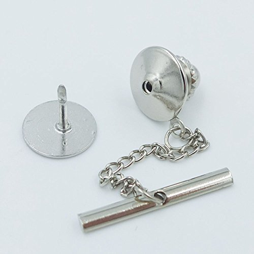 10 Pcs Vintage Locking Tie Tac Tack guard Pin Clutch Backs Chain For Rock Biker Gold or Silver Choice