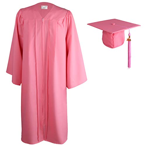 OSBO GradSeason Matte Graduation Gown Cap Tassel Set for High School and Bachelor (Pink, 51