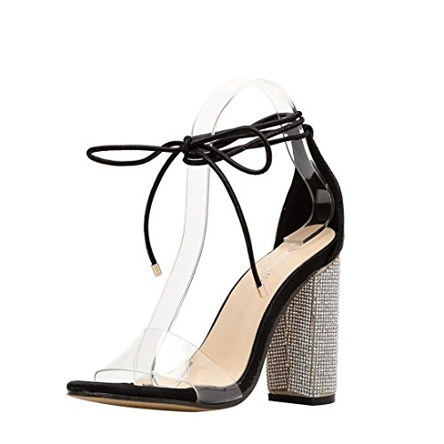 Lolittas Women Rose Gold Sliver Diamante Sandals Court Shoes Size 2-7,Evening Wedding Bling Transparentce up Strappy High Stiletto Heel Slingback Peep Toe Lace up Black Sm6ORG