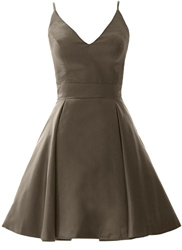 Homecoming Mini Wedding V Prom Dress MACloth Neck Elegant Party Pewter Gown Formal w6AqxnXS