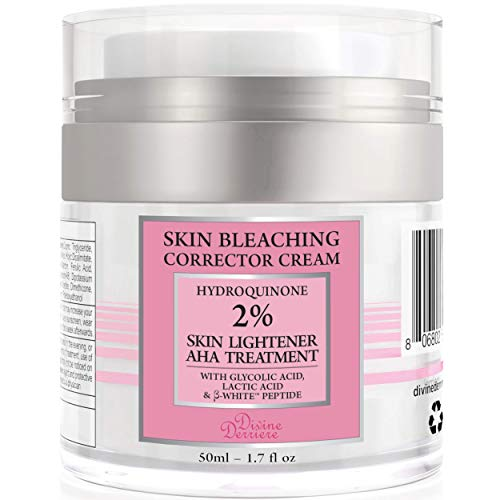 - Divine Derriere Skin Lightening 2% Hydroquinone Bleaching Cream with 6% AHA Glycolic Acid and Lactic Acid - Fade Dark Spots, Freckles, Hyperpigmentation, Melasma and Discolorations. 1.7 Ounce
